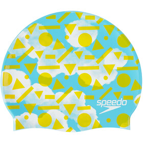 speedo Slogan Cap Juniors Light Adriatic/Citron/White